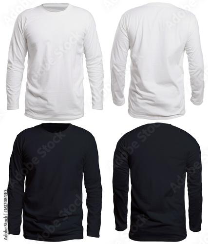 фотография  Black and White Long Sleeve Shirt Mock up