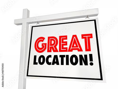 Αφίσα  Great Location Home for Sale House Real Estate Sign 3d Illustration