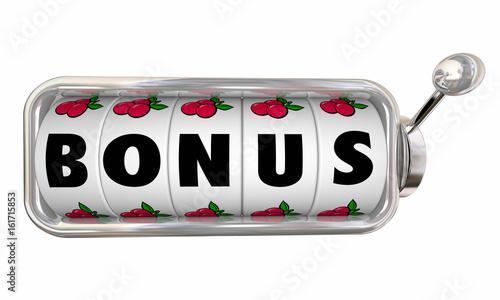 Bonus Slot Machine Wheel Word Extra 3d Illustration Billede på lærred