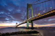 Verrazano-Narrows bridge in Brooklyn and Staten Island, NYC after sunset