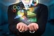 canvas print picture - businessman holding data visualization