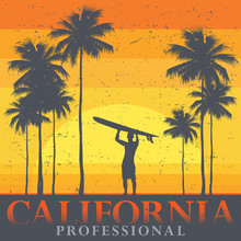 California Beach, Surfer Poster