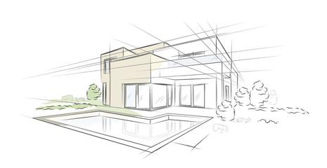 Dom jednorodzinny z liniowym szkicem architektonicznym