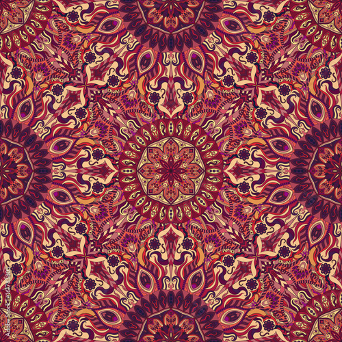 Cotton fabric Ornate floral seamless texture, endless pattern with vintage mandala elements.