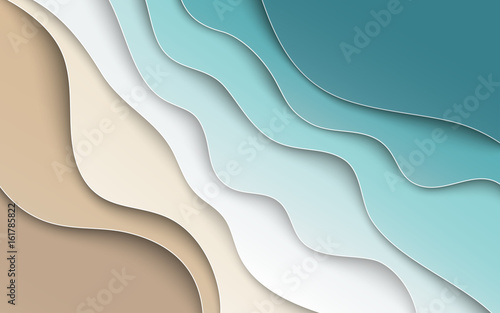 Abstract blue sea and beach summer background with curve paper waves and seacoast for banner, flyer, invitation, poster or web site design. Paper cut out art style, space for text, vector illustration
