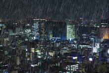 Falling Rain In Tokyo, Japan