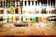 Wood Bar Top On Blur Colorful ...