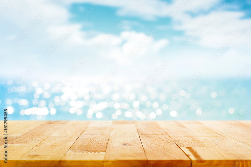 Fototapety, obrazy: Wood table top on blur sparkling sea water and summer sky background