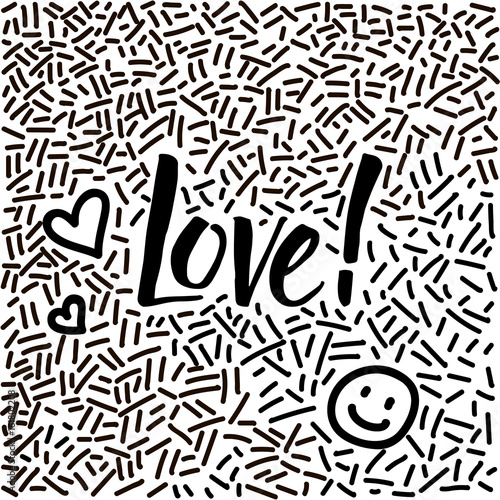Line-art hand-drawn doodle with modern calligraphy word Love!