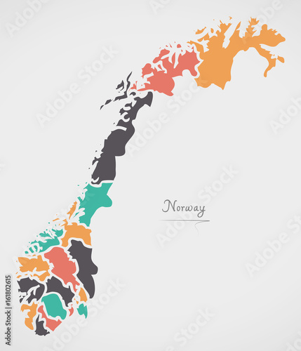 Norway Map with states and modern round shapes Tablou Canvas