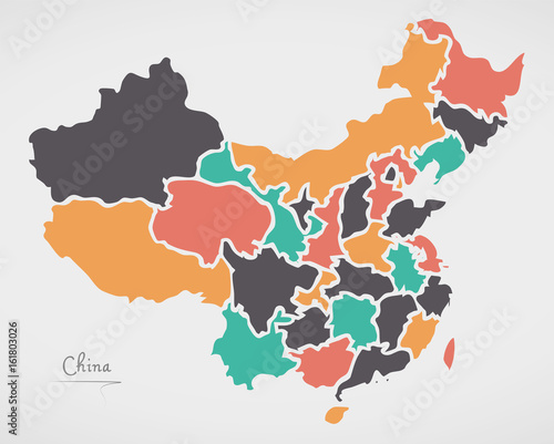 Fototapeta China Map with states and modern round shapes
