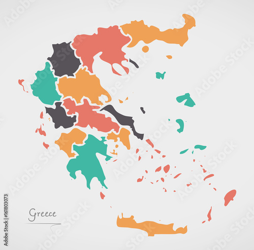 Greece Map with states and modern round shapes Wallpaper Mural