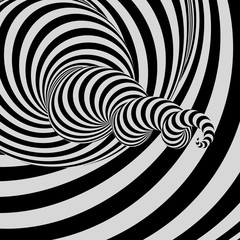 Tunnel. Abstract 3D geometrical background. Black and white design. Pattern with optical illusion. Vector illustration.