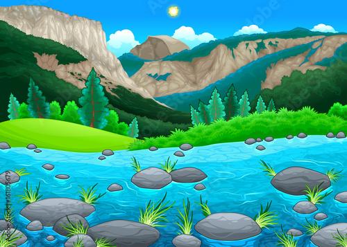 Staande foto Kinderkamer Mountain landscape with lake