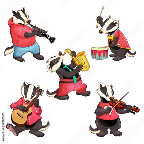 Staande foto Kinderkamer Group of funny badgers are playing music