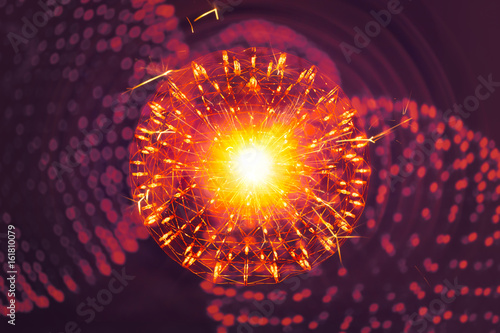 Nucleus of Atom molecule structure with radiation light nano physics science illusttration model concept.