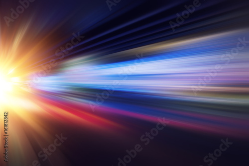 Fotografía  motion blur fast business and technology background concept, Acceleration super zoom blurry night road