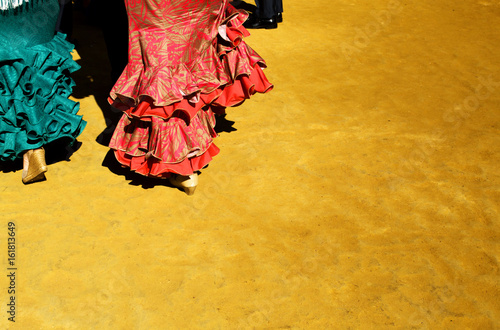 Trajes de flamenca en la feria de Abril / In the April fair Flamenco dresses Canvas Print