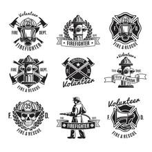 Monochrome Firefighting Labels Set