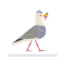 Sea Gull Icon. Freehand Cartoo...
