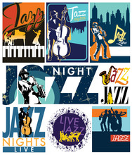 Editable Vector Labels Of Jazz...