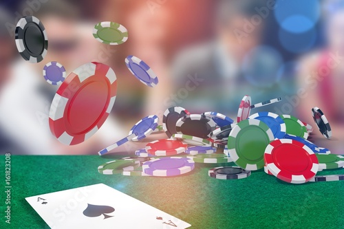 Foto  Composite image of vector image of 3d gambling chips