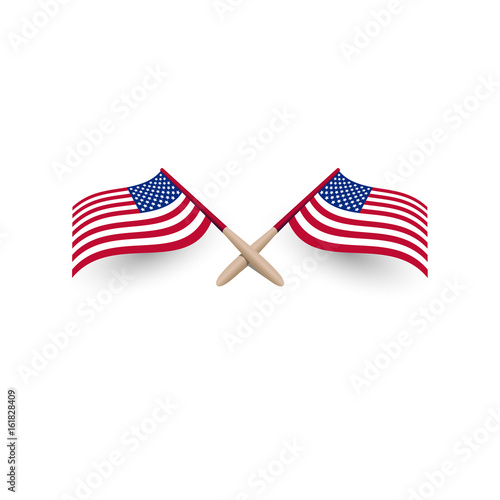 fcefb7097b85 United States of America windy waving flag crossed template with shadow 3d  vector illustration eps10 on white background. USA Independence day logo
