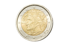 Italian Coin Of Two Euro Closeup With Symbol: Famous Poet Dante Alighieri From Florence In Italy. Isolated On White Studio Background.