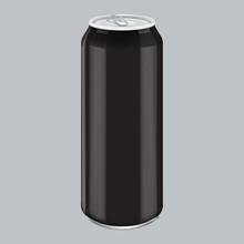 Black Metal Aluminum Beverage Drink. Mockup For Product Packaging. Energetic Drink Can 500ml, 0,5L