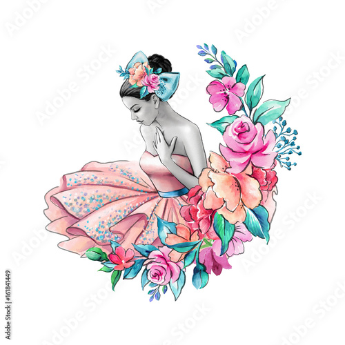 watercolor illustration, flower girl, floral wedding, young lady portrait, pink dress, ballerina isolated on white background
