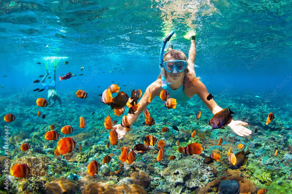Fototapeta Happy family - couple in snorkeling masks dive deep underwater with tropical fishes in coral reef sea pool. Travel lifestyle, outdoor water sport adventure, swimming lessons on summer beach holiday