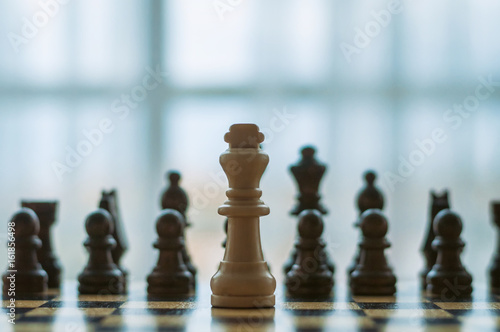 wooden chess on board Tableau sur Toile