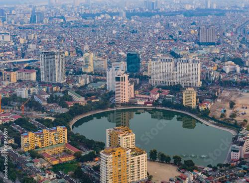 Hanoi skyline cityscape at twilight period