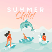Hand Drawn Vector Abstract Summer Time Funny Illustration Poster With Surfer Girls In White Unicorn Float Circle, Bikini With Dog On Blue Ocean Waves Texture And Modern Calligraphy Quote Summer Child