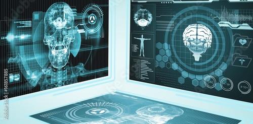 Fotografie, Obraz  Composite 3d image of application interface