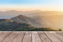 Empty Perspective Old Wooden Balcony Terrace Floor On Viewpoint High Tropical Rainforest Mountain In The Morning