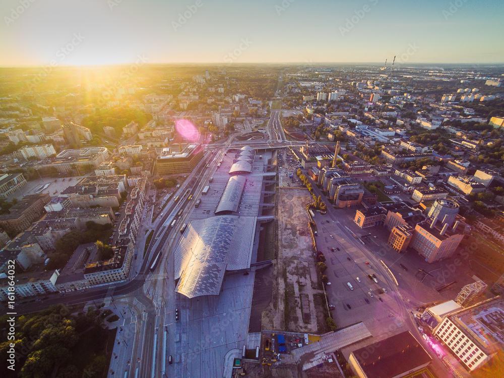 Fototapeta EC1 Łódź with big Station Łódź Fabryczna