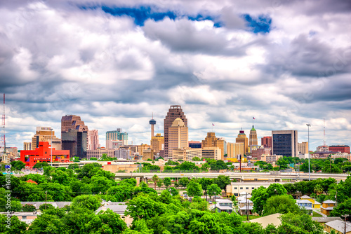 Aluminium Prints Texas San Antonio, Texas, USA Skyline