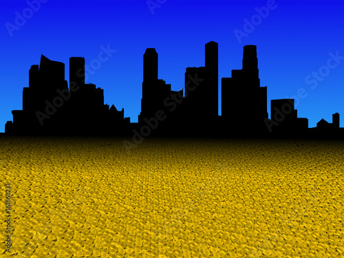 Photo  Singapore skyline with golden dollar coins foreground illustration