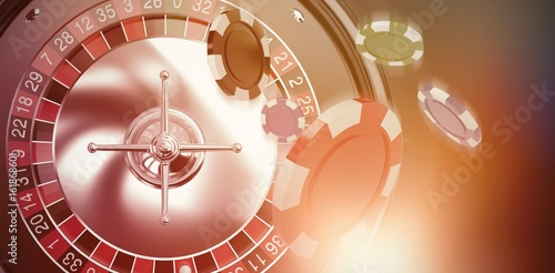 фотография  Composite image of vector image of 3d gambling chips
