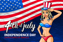 Illustration Of A Girl Celebrating Independence Day Vector Poster. 4th Of July Lettering. American Red Flag On Blue Background