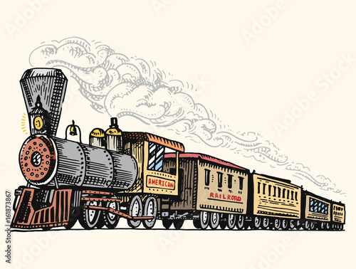 Fototapeta engraved vintage, hand drawn, old locomotive or train with steam on american railway. retro transport. obraz
