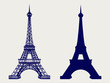 Eiffel tower silhouette and hand sketched icons. Vector symbols of Paris
