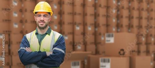 Composite image of manual worker wearing hardhat and eyewear