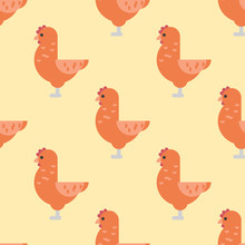 Cute Cartoon Rooster Vector Il...