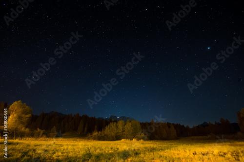 Door stickers Chocolate brown Night landscape under starlight