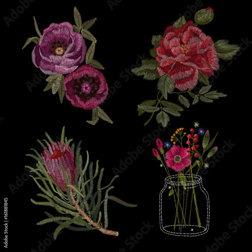 Set of Peony. Traditional folk stylish stylish floral embroidery on the black background. Sketch for printing on clothing, fabric, masks, accessories and design. Trend vector