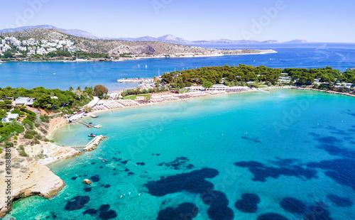 Der berühmte Celebrity Astir Beach in Vouliagmeni, Athen, Griechenland Canvas Print