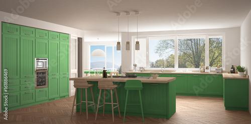 Modern Scandinavia Kitchen With Big Windows, Panorama ...