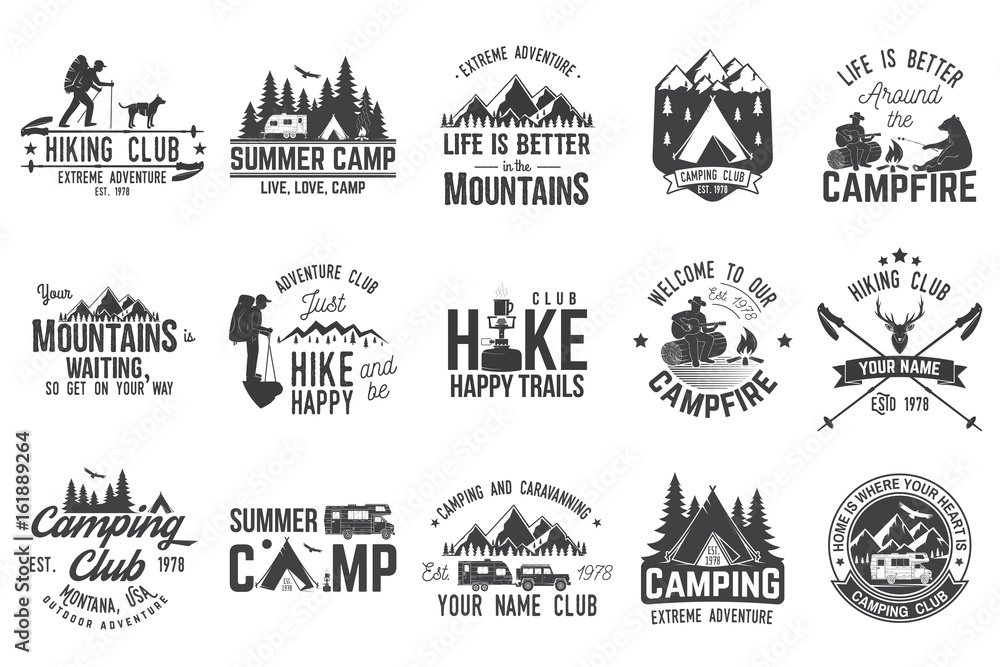 Fototapety, obrazy: Set of extreme adventure badges. Concept for shirt or logo, print, stamp or tee.